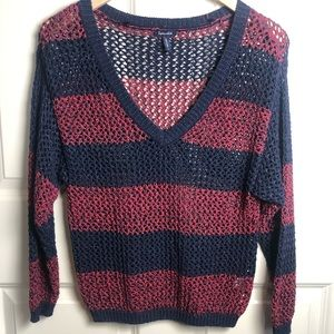 Anthropologie Splendid Vneck stripe knit sweater